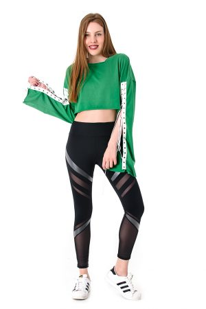 Green Lace Up Sleeve Top1