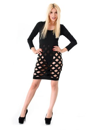 Black Hollow Out Dress4